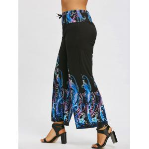 Paisley Print Plus Size Wide Leg Pants -