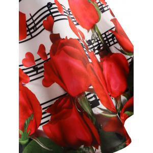 Valentines Day Musical Notes Roses Print Flared Dress -