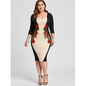 Apricot 2xl Plus Size Embroidered Bodycon Dress | RoseGal.com