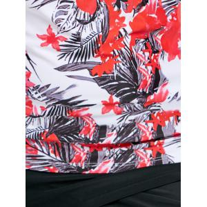 Flowers Print Flounce Plus Size Tankini Swimsuit -
