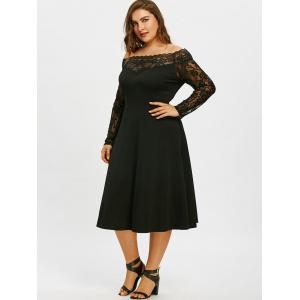 Off The Shoulder Plus Size Lace Sleeve Dress -