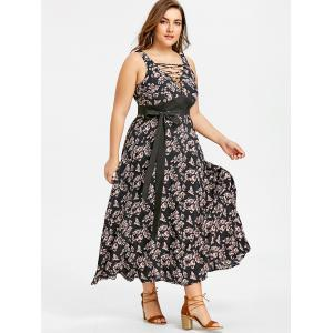 Plus Size Criss Cross Belted Floral Dress -
