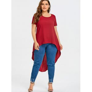 Short Sleeve Plus Size High Low Blouse -