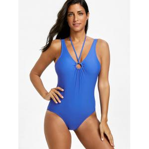 One Piece Plunge Neck Backless Swimsuit -