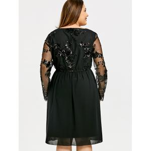 Plus Size A-line Sequin Chiffon Dress -