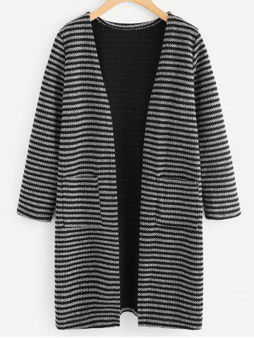 Fancy Front Pockets Striped Cardigan