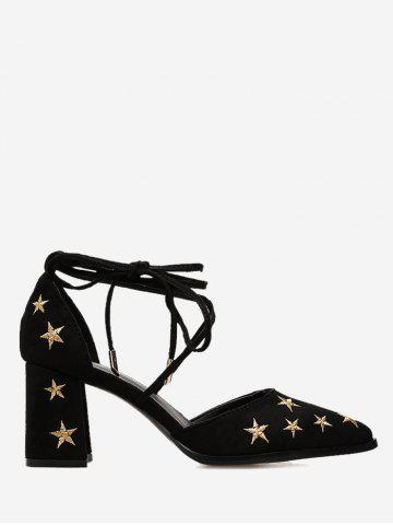 Trendy Stars Embroidery Mid Heel Ankle Strap Pumps