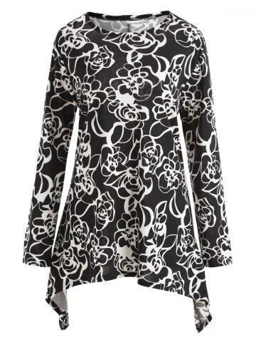 Cheap Floral Long Sleeve Plus Size Tunic Dress