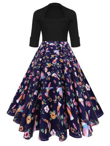 -49% Floral Bird High Waist Vintage Midi Dress