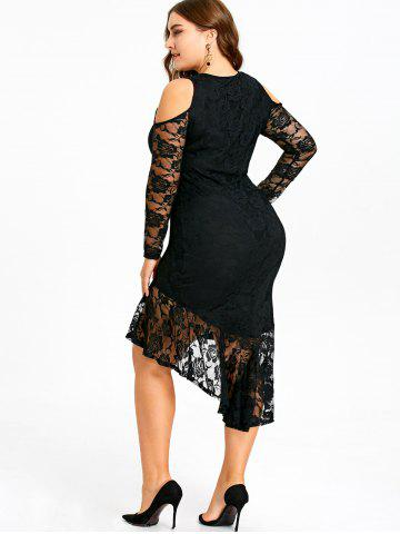 Plus Size Open Shoulder Lace High Low Dress, Black