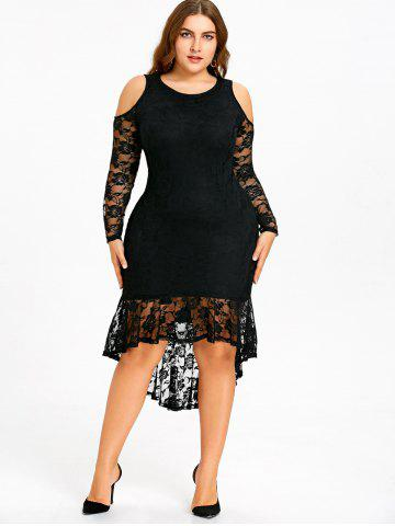 Plus Size Open Shoulder Lace High Low Dress