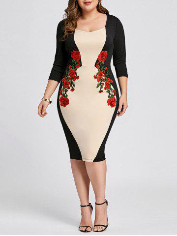 Apricot Xl Plus Size Embroidered Bodycon Dress Rosegal