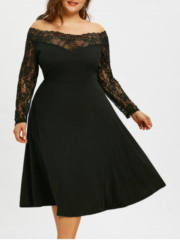 Chic Off The Shoulder Plus Size Lace Sleeve Dress