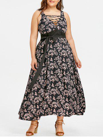 Cheap Plus Size Criss Cross Belted Floral Dress
