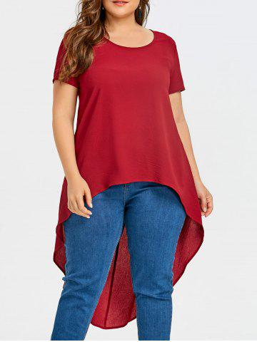 Fashion Short Sleeve Plus Size High Low Blouse