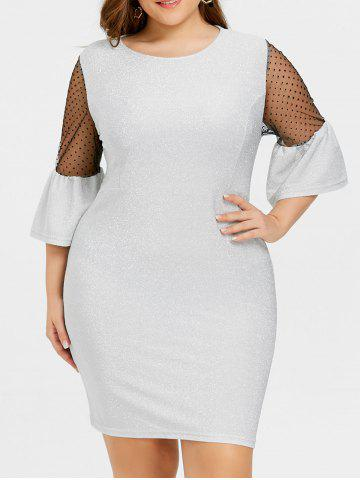 Plus Size Bell Sleeve Sparkly Dress