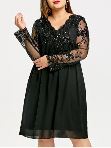 Black 5xl Plus Size A-line Sequin Chiffon Dress | RoseGal.com