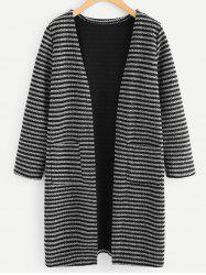 Front Pockets Striped Cardigan -