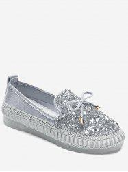 Bowknot Rhinestone Loafer Shoes -