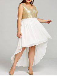 Plus Size Sparkly High Low Hem Dress -