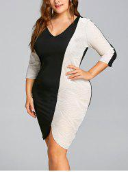 Plus Size Glittering Two Tone Bodycon Dress -