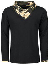 Camouflage Heaps Collar Long Sleeve T-shirt -