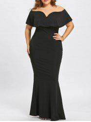 Plus Size Off The Shoulder Maxi Mermaid Dress -