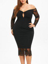 Plus Size Off The Shoulder Keyhole Bodycon Dress -