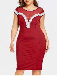 Plus Size Sheer Lace Appliqued Tight Dress -