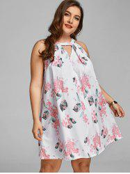 Floral Cut Out Plus Size Trapeze Dress -