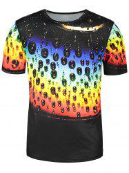 Colorful Waterdrip Print Short Sleeve T-shirt -