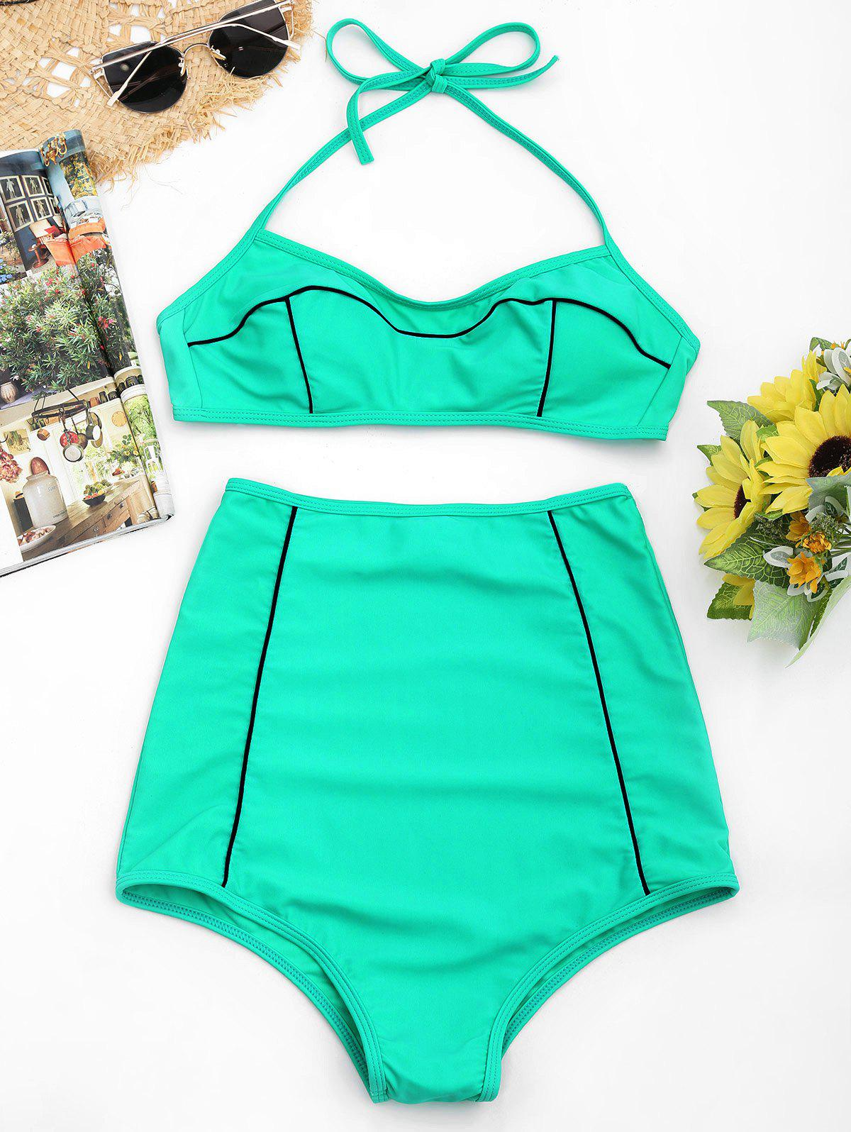 Discount High Waisted Padded Halter Bikini Set