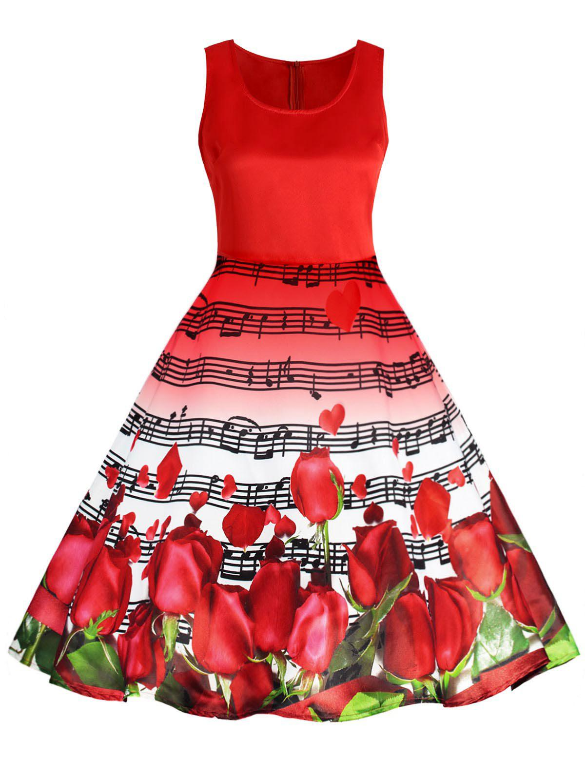Affordable Valentines Day Musical Notes Roses Print Flared Dress