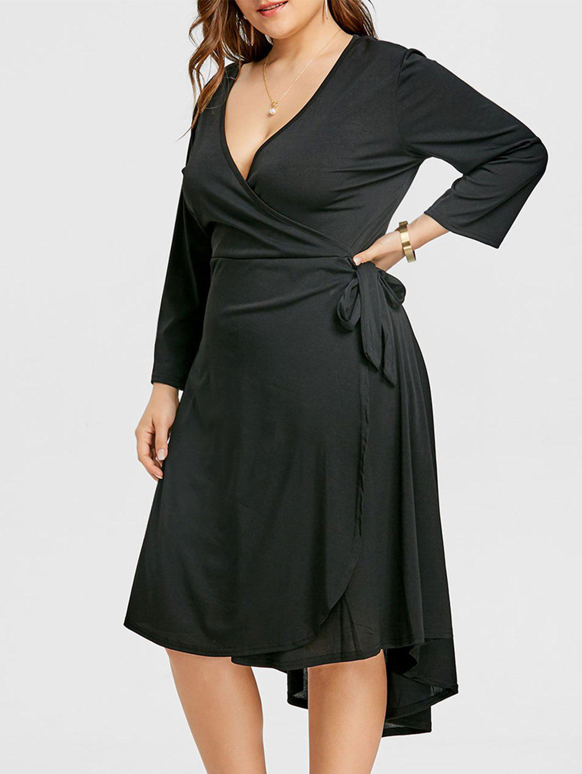 Outfits Surplice Belted Asymmetrical Plus Size Dress