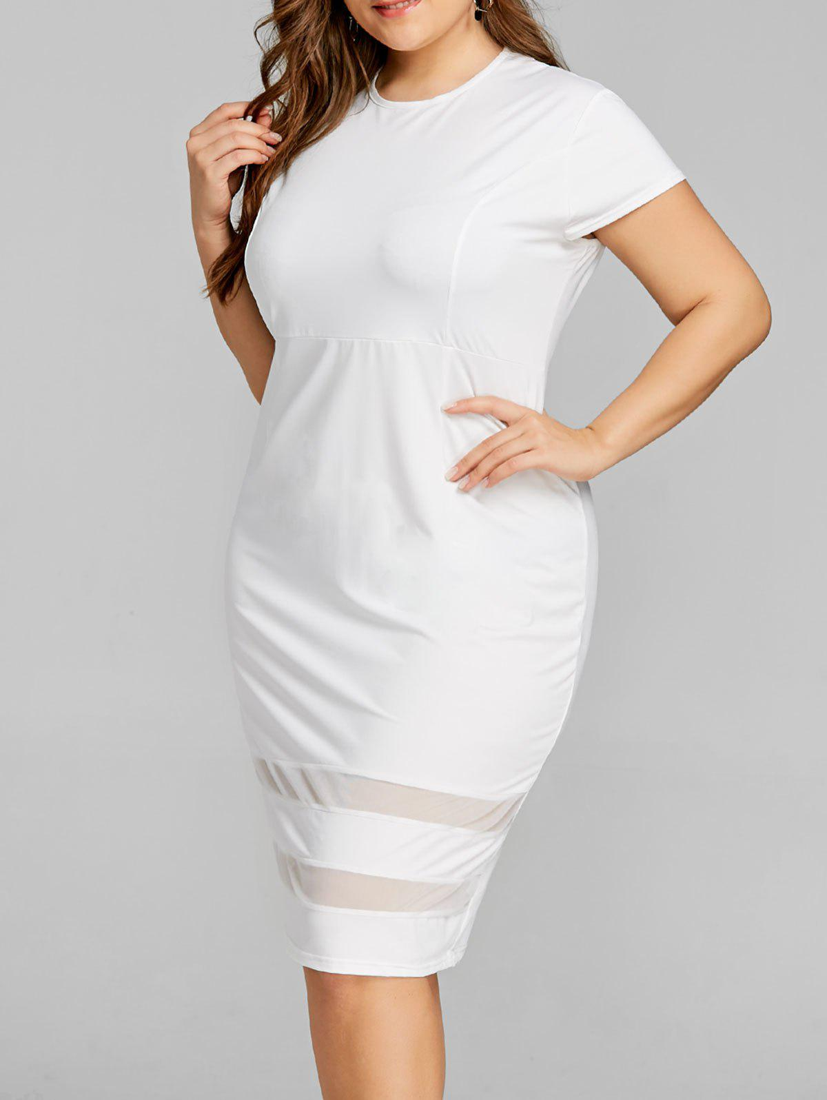 Mesh Panel Knee Length Plus Size Dress