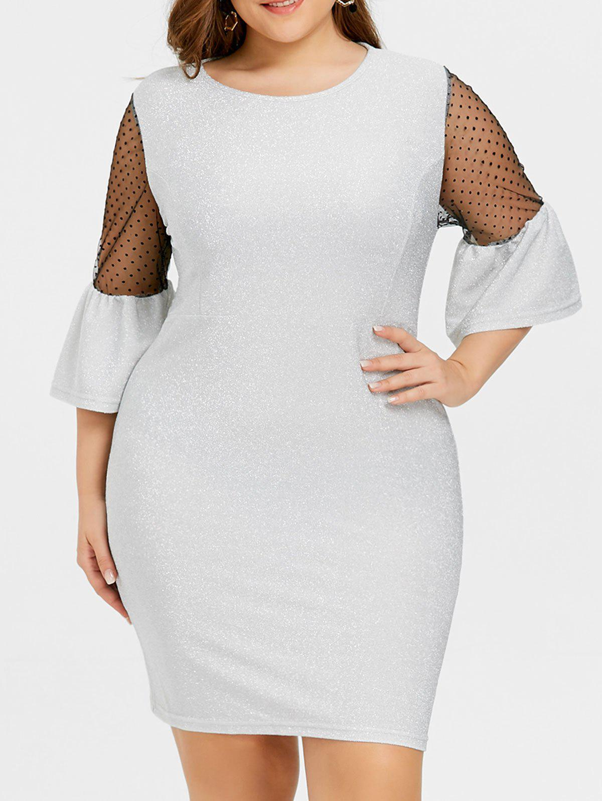 Fancy Plus Size Bell Sleeve Sparkly Dress