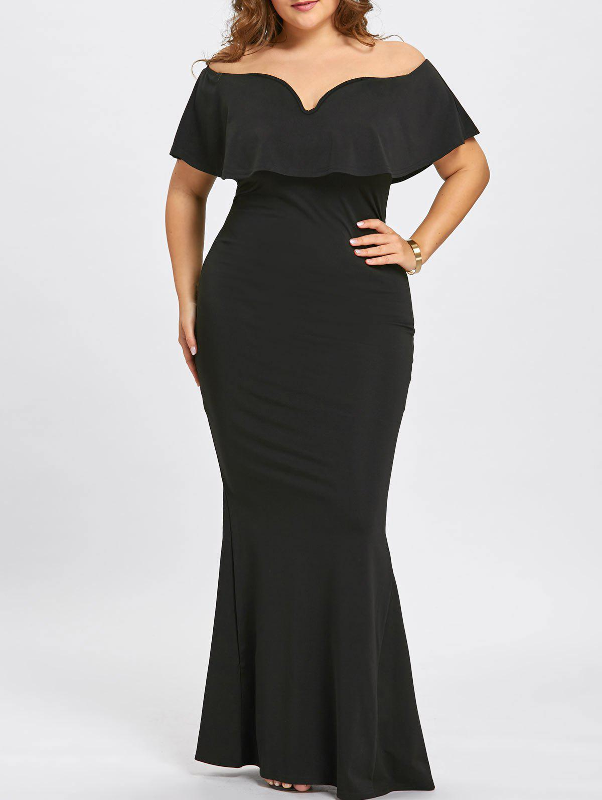 2018 Plus Size OFF The Shoulder Maxi Mermaid Dress In Black 3xl ...