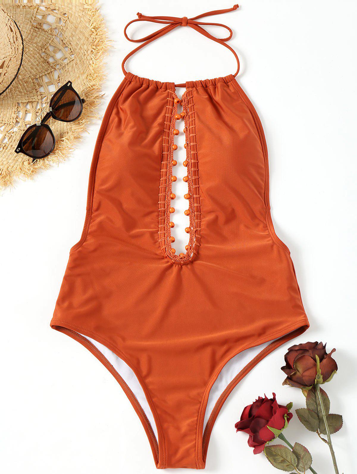 Outfit Low Back Beading One Piece Swimsuit