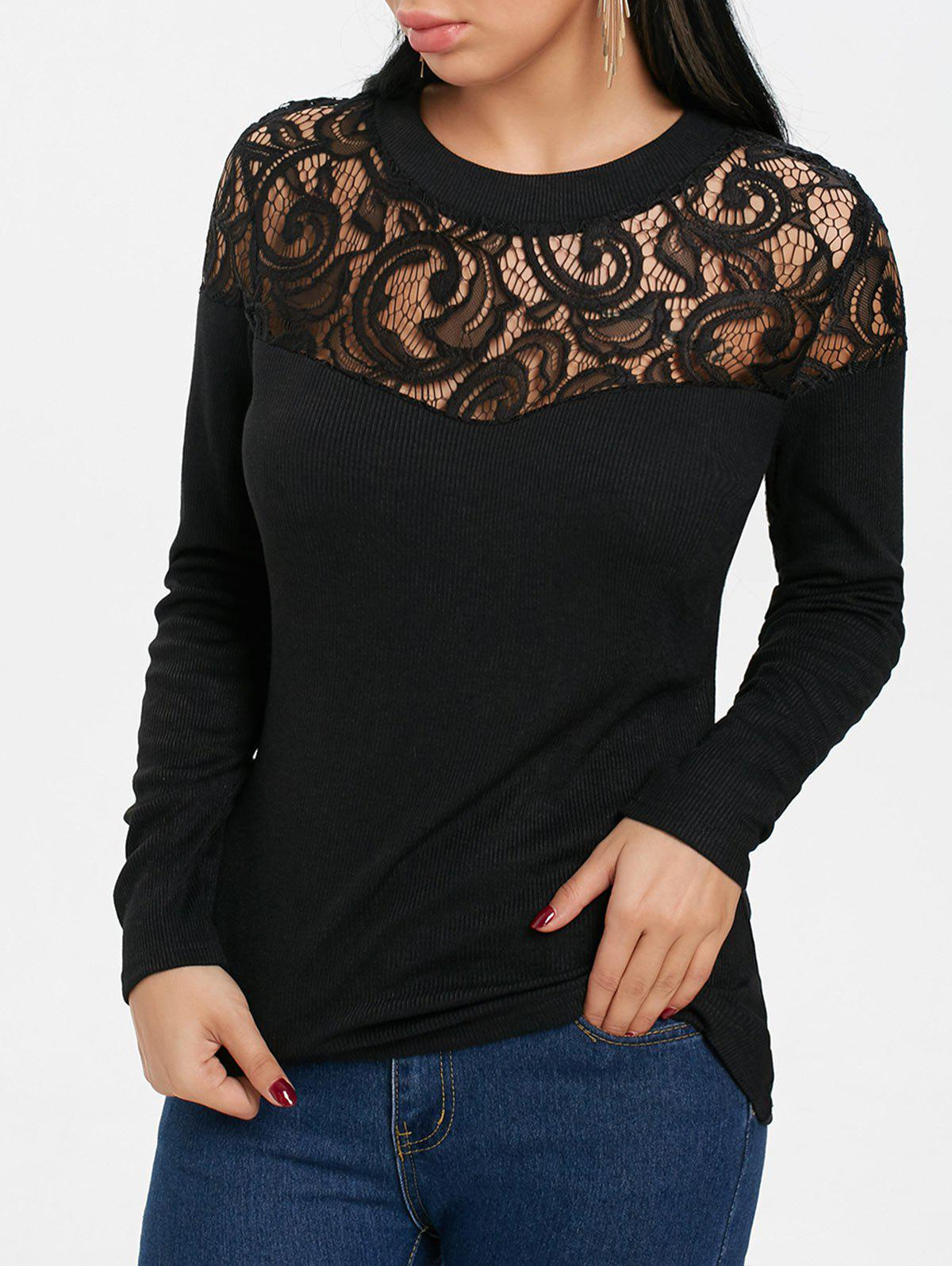 Buy Openwork Lace Panel Long Sleeve T-shirt