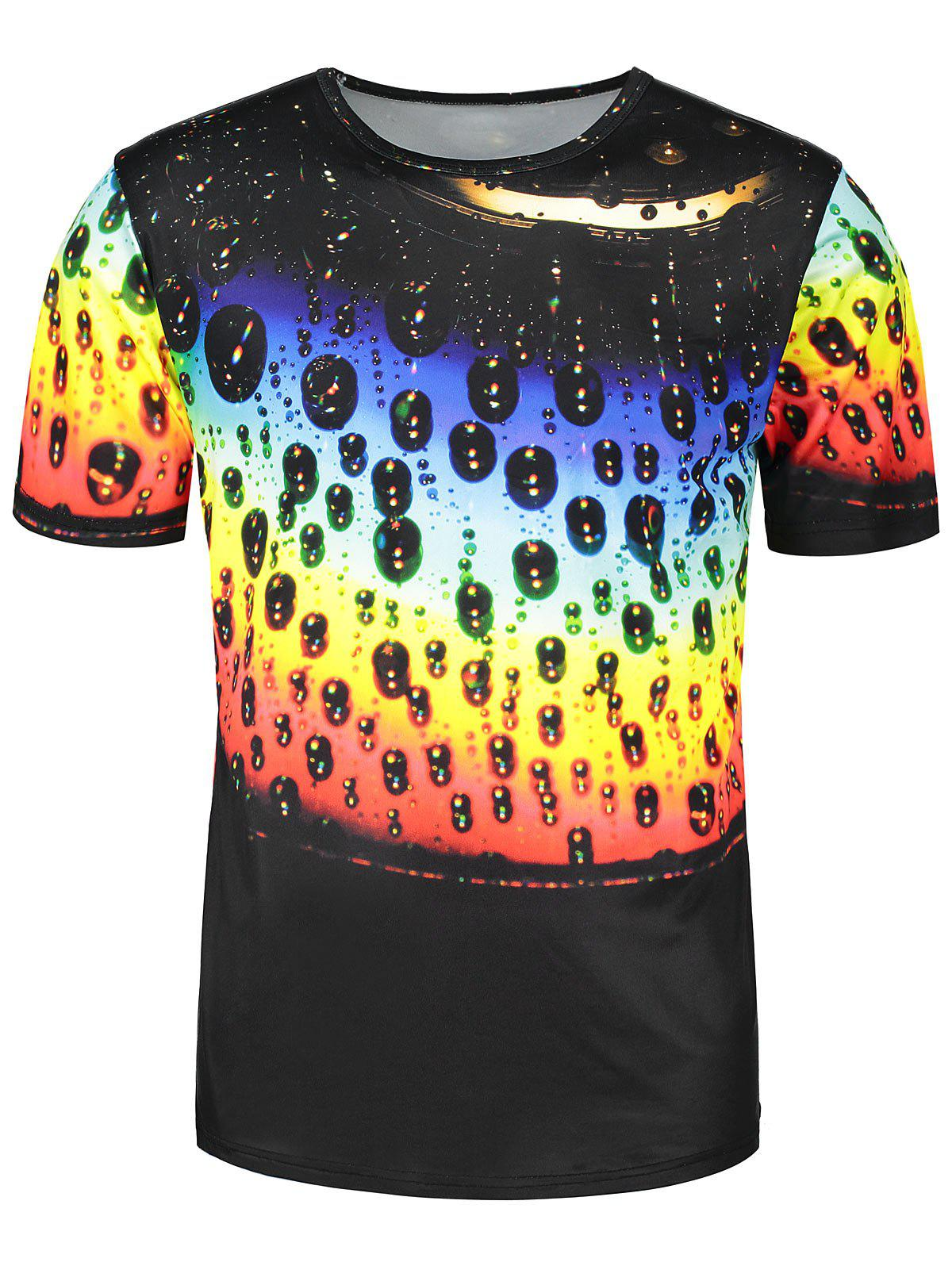 Fancy Colorful Waterdrip Print Short Sleeve T-shirt