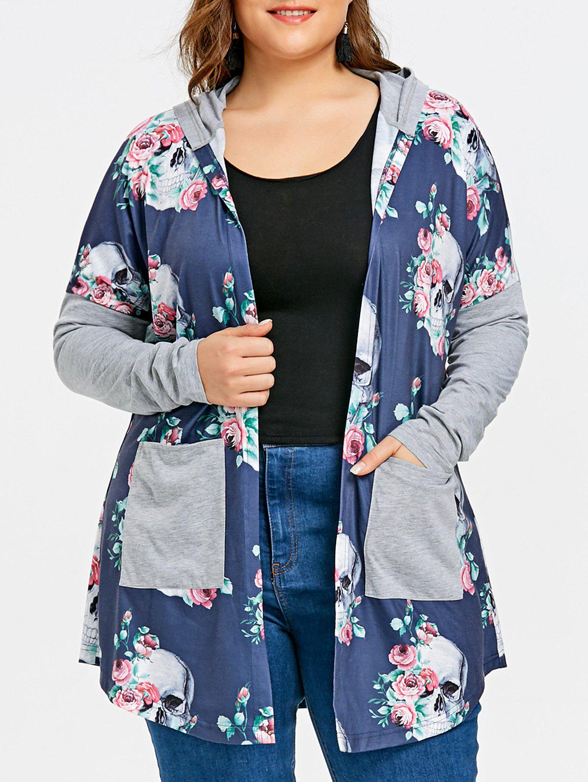 Latest Plus Size Hooded Skulls Cardigan