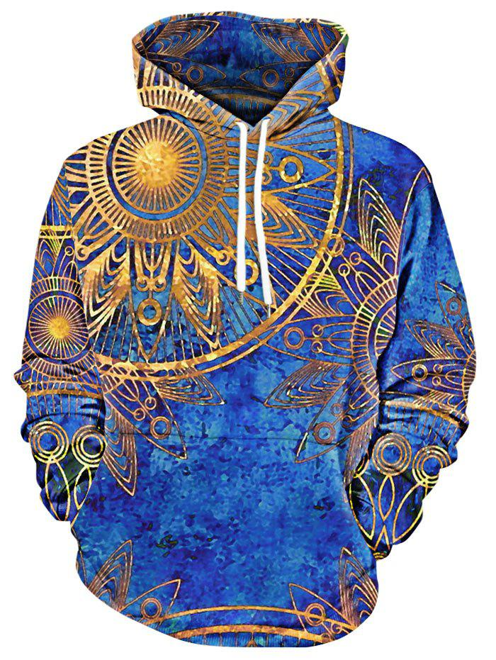 Affordable Maya Totem Print Kangaroo Pocket Hoodie