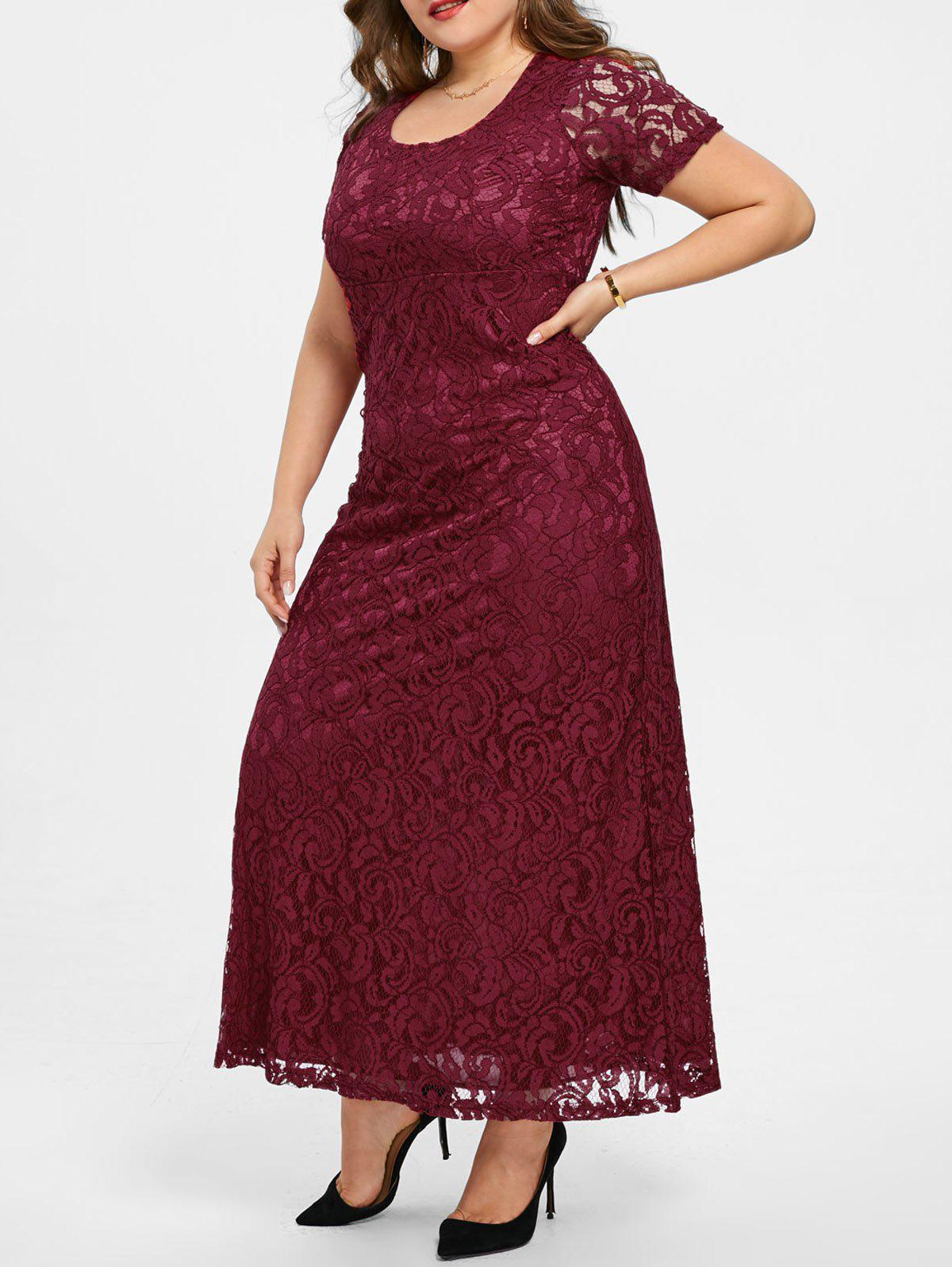 Discount Plus Size Lace Maxi Party Gown Dress