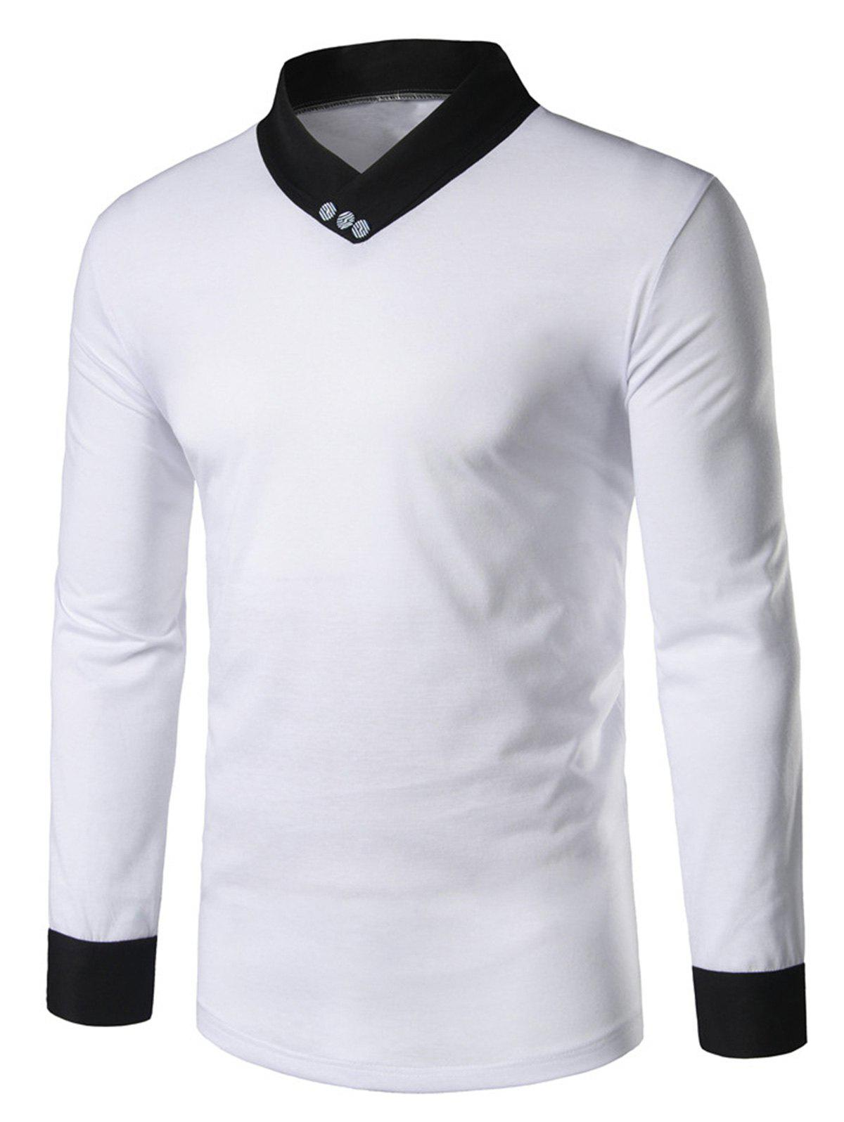 e17f9e4ae902e Outfit Shawl Collar Panel Long Sleeve T-shirt