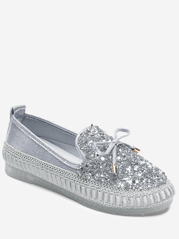 Sale Bowknot Rhinestone Loafer Shoes