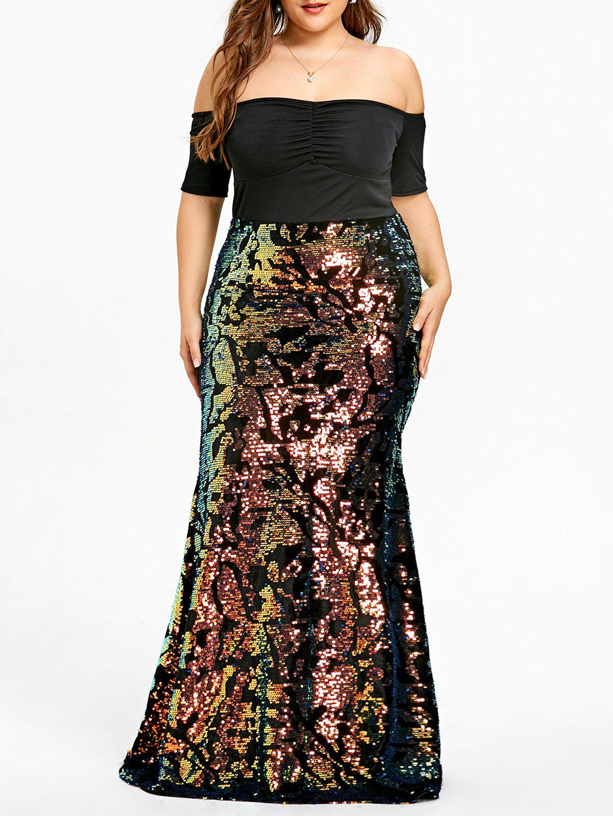 69% OFF] Plus Size Sequined Maxi Mermaid Dress | Rosegal
