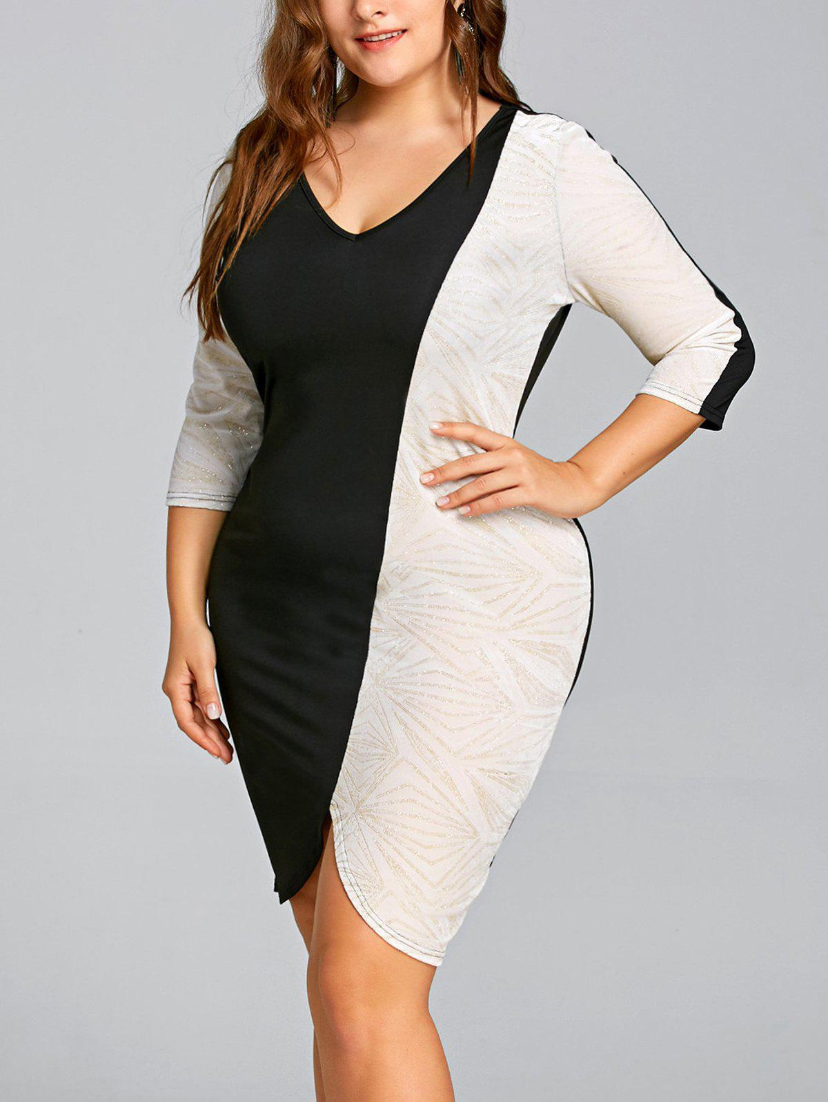 Buy Plus Size Glittering Two Tone Bodycon Dress