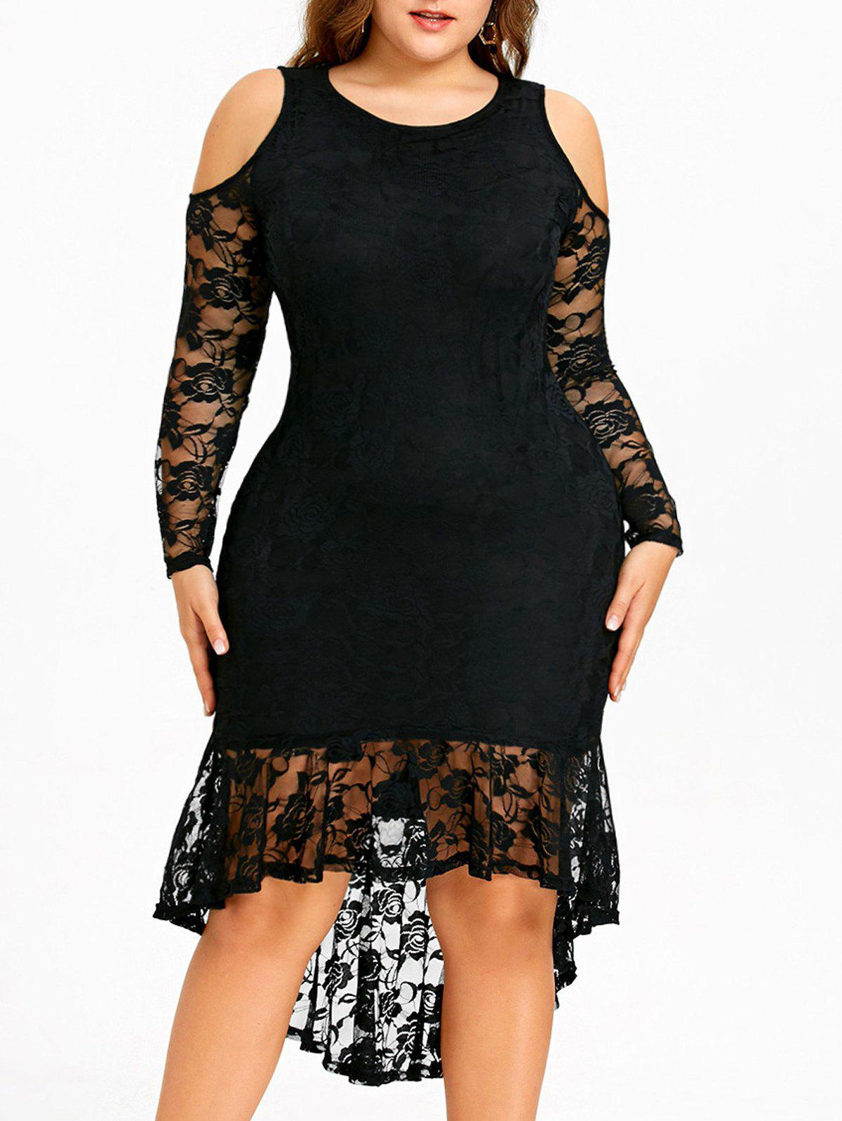 Outfit Plus Size Open Shoulder Lace High Low Dress