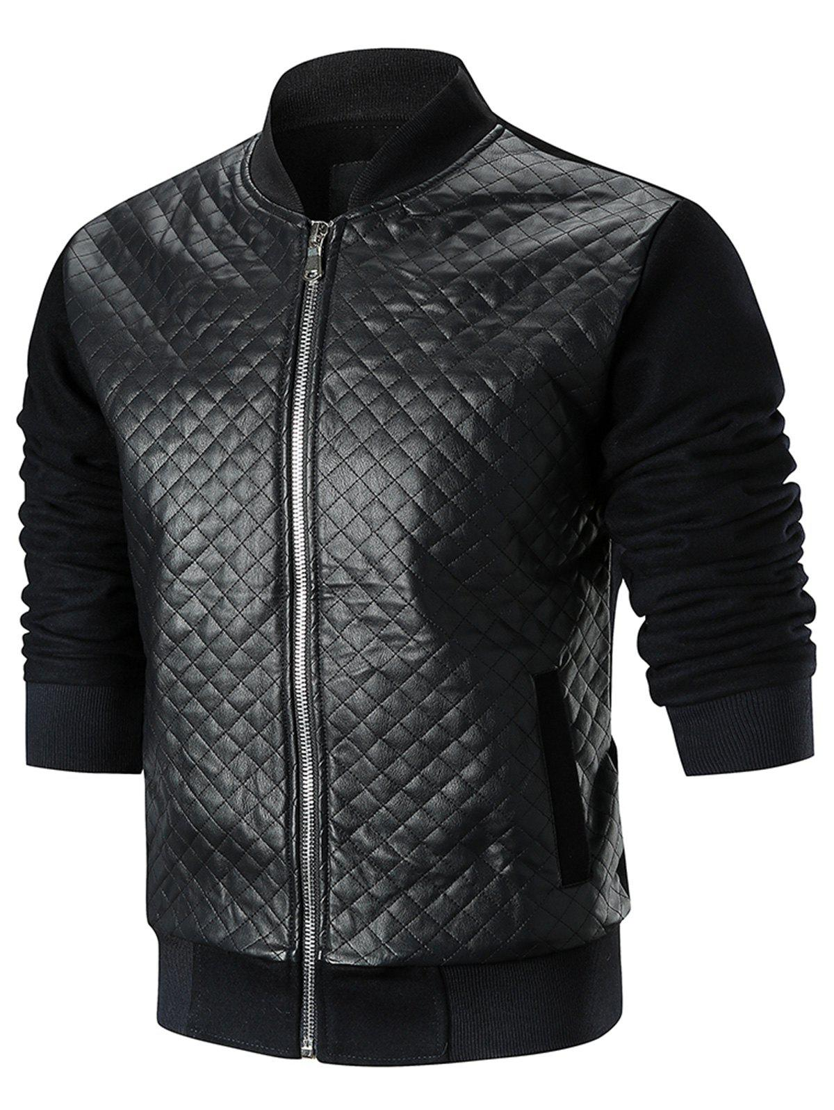 Buy Checked Faux Leather Jacket
