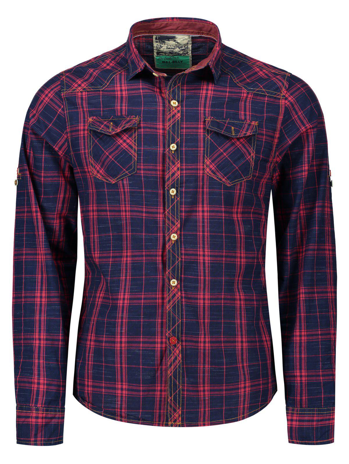 Online Plaid Flap Pockets Shirt